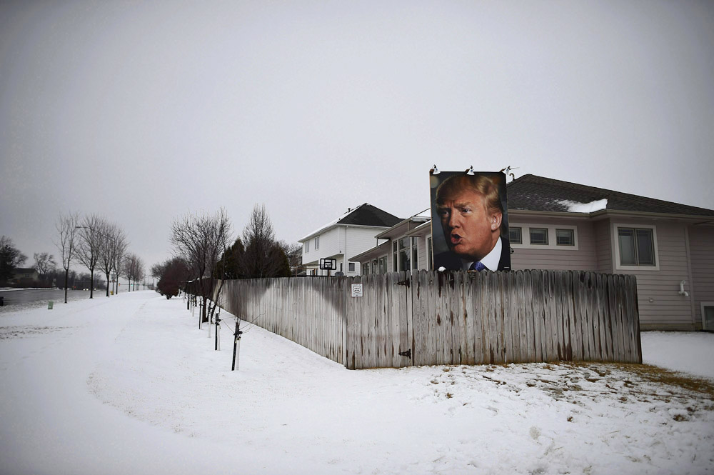 A photograph of presidential candidate, Donald Trump is seen in a residential neighborhood on Tuesday February 02, 2016 in West Des Moines, IA. (Photo by Matt McClain/ The Washington Post)