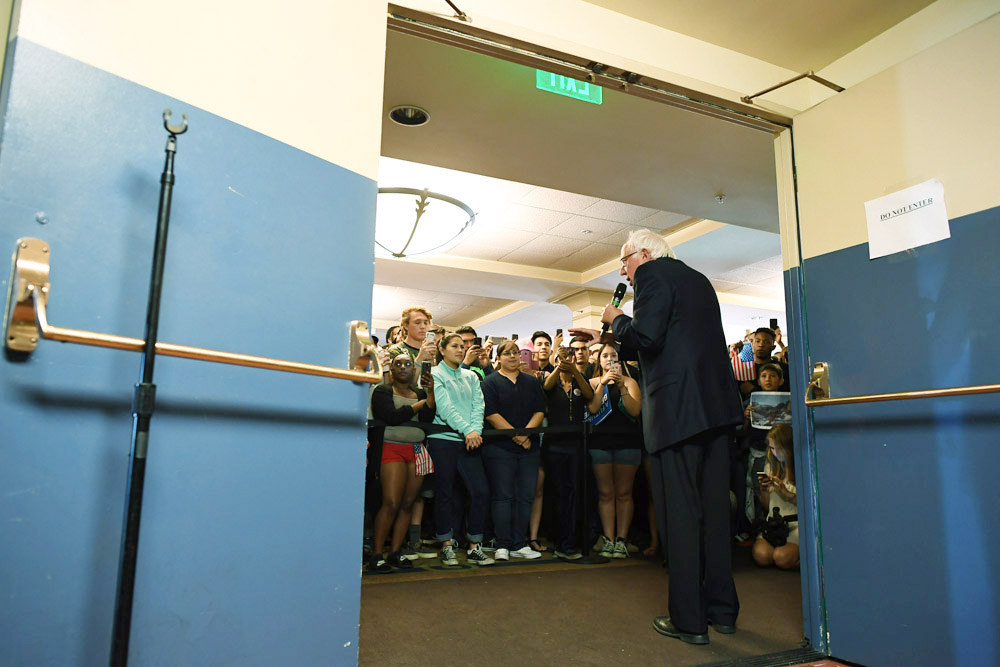 Presidential candidate, Bernie Sanders talks to an overflow crowd at a rally at the Riverside Municipal Auditorium on Tuesday May 24, 2016 in Anaheim, CA. The primary in California is June 7th. (Photo by Matt McClain/ The Washington Post)