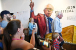 Presidential candidate, Bernie Sanders  prepares to speak to volunteers during a stop at a campaign office on Saturday June 04, 2016 in Los Angeles, CA. The primary in California is June 7th. (Photo by Matt McClain/ The Washington Post)