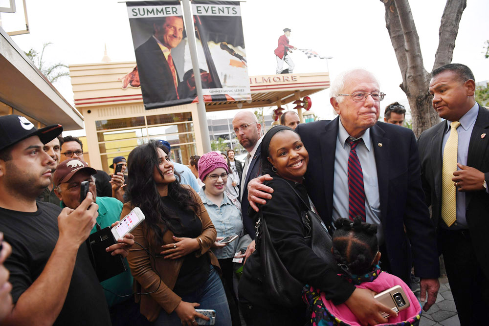 Presidential candidate, Bernie Sanders greets people at the Original Farmers Market and The Grove on Friday May 27, 2016 in Los Angeles, CA. The primary in California is June 7th. (Photo by Matt McClain/ The Washington Post)