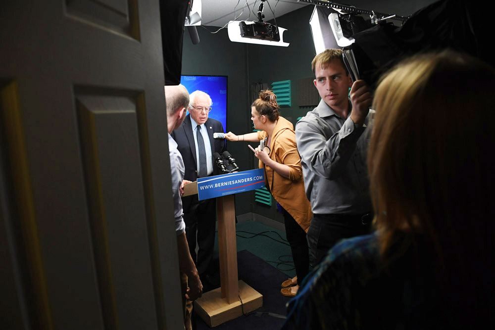 Presidential candidate, Bernie Sanders prepares to speak for a video to supporters at Polaris Mediaworks on Thursday June 16, 2016 in Burlington, VT. (Pool Photo by Matt McClain/ The Washington Post)