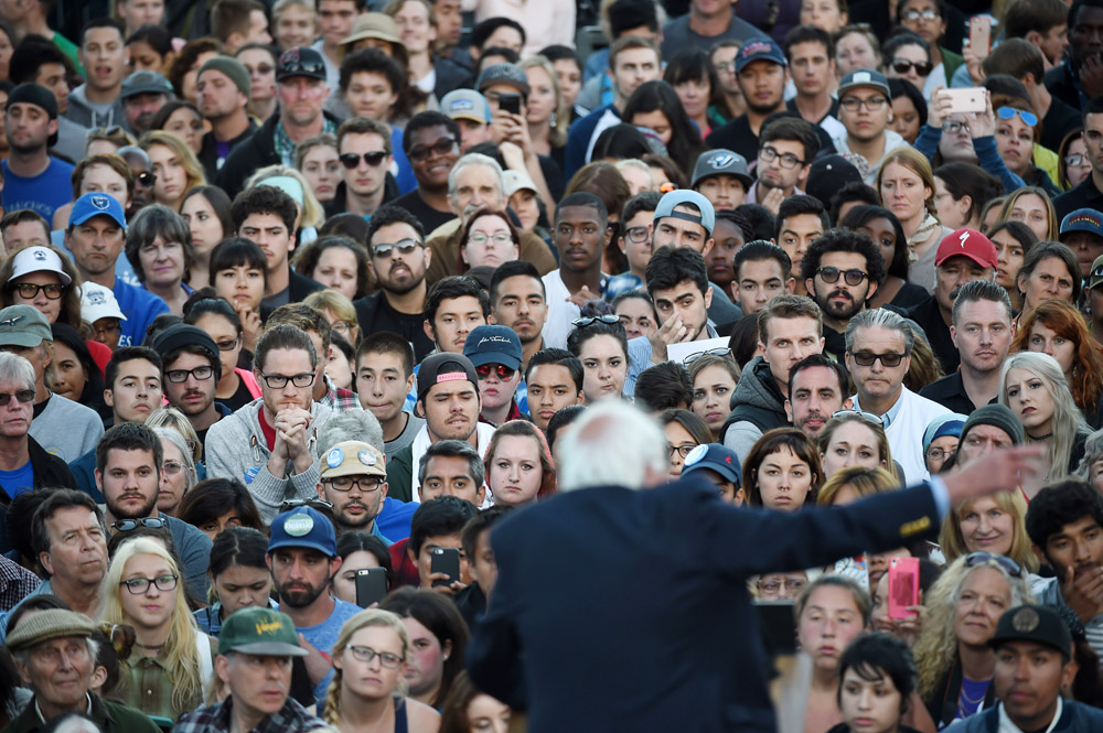 Presidential candidate, Bernie Sanders speaks at a rally at Colton Hall Lawn on Tuesday May 31, 2016 in Monterey, CA. The primary in California is June 7th. (Photo by Matt McClain/ The Washington Post)