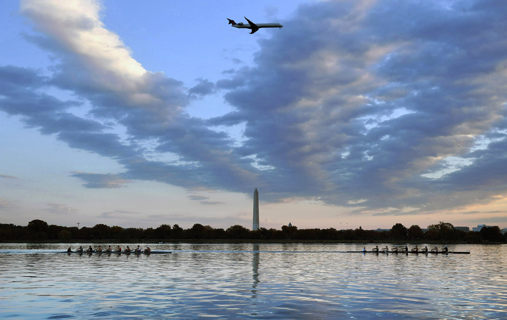 Members of the Georgetown University men's rowing team practice on the Potomac River on Wednesday October 19, 2016 in Washington, DC. The team will be competing this Sunday in Boston, MA. (Photo by Matt McClain/ The Washington Post)