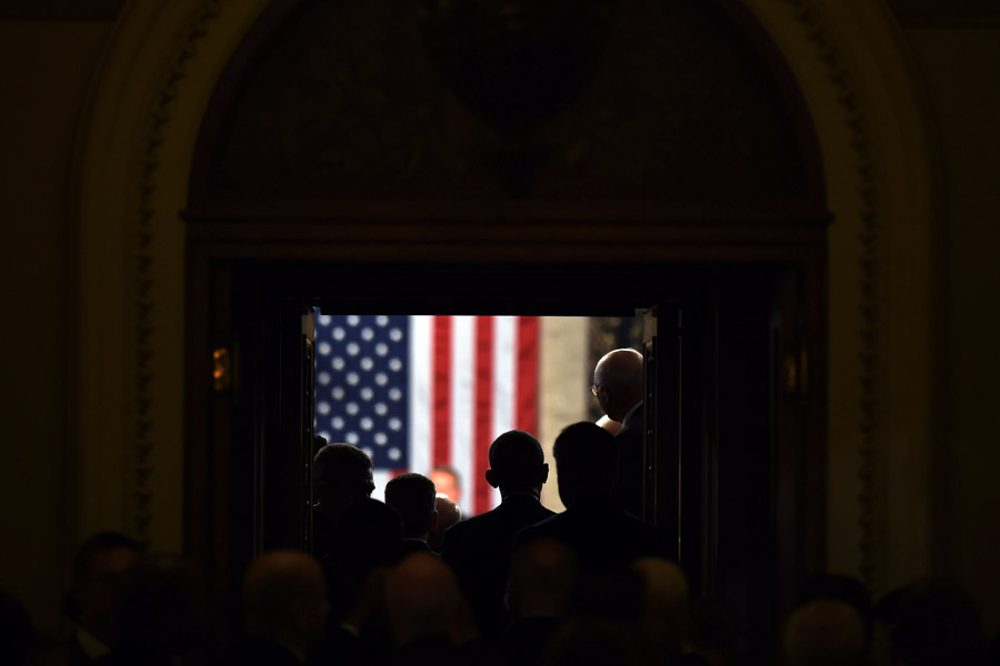 President Barack Obama arrives to give the State of the Union address at the United States Capitol on Tuesday January 20, 2015 in Washington, DC. (Photo by Matt McClain/ The Washington Post)