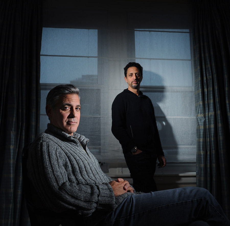George Clooney, left, and Grant Heslov, right, pose for a portrait at the Carlyle, a Rosewood Hotel on Wednesday February 05, 2014 in New York, NY.  They worked together on the new movie, The Monuments Men.  (Photo by Matt McClain/ The Washington Post)