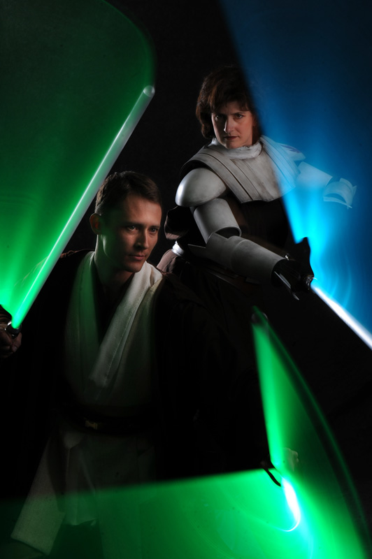 Tony Rich, 33, of Denver, Colo., left, and Gina Tironi, 39, of Broomfield, Colo. are transformed into Jedi Warriors as members of the 501st Legion- Mountain Garrison Mile High Squad Star Wars group show their costumes in Broomfield, Colo. Sunday 04/11/10.  Rich also dons the costumes of a Snow Trooper and Darth Vader, while Tironi also wears the costumes of an Imperial Biker Scout and a Jawa.  Photo by Matt McClain