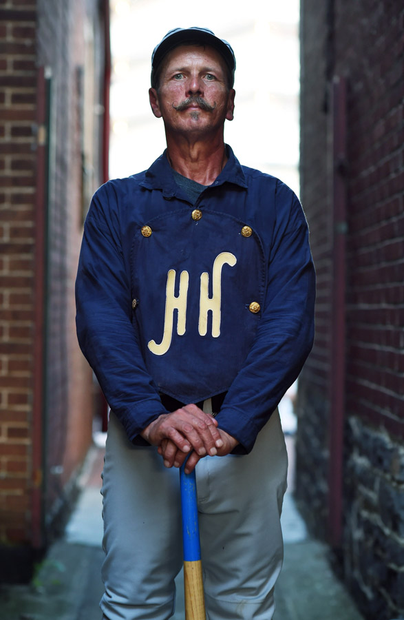 Jay {quote}Udderguy{quote} Kauflie of the Hog and Hominy Base Ball Club of Tennessee poses for a portrait in downtown Gettysburg, PA on Saturday July 18, 2015 in Gettysburg, PA. He was in town to take part in the Gettysburg National 19th Century Base Ball Festival. (Photo by Matt McClain/The Washington Post)