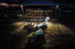 Cars collide during the demolition derby at the Shenandoah County Fair on Monday August 27, 2012 in Woodstock, VA.