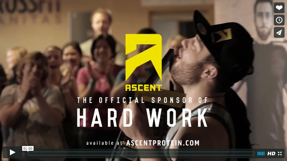 Ascent Protein is about the hard work, not fame. That's why we'll celebrate and sponsor real people instead of famous ones. Instead of choosing a celebrity we'll partner with crossfit gyms to find the hardest working athletes.Production Company: Buck RossDirector: Ryan RossProducer: Alex VanNortwickAssistant Director: Tom FarnsworthDirector of Photography: Jeffery GarlandRigger: Arte SheltonEditor: Lam TguyenSound Design: Coupe StudiosAudio Mix: Alex HawleyAgency: School
