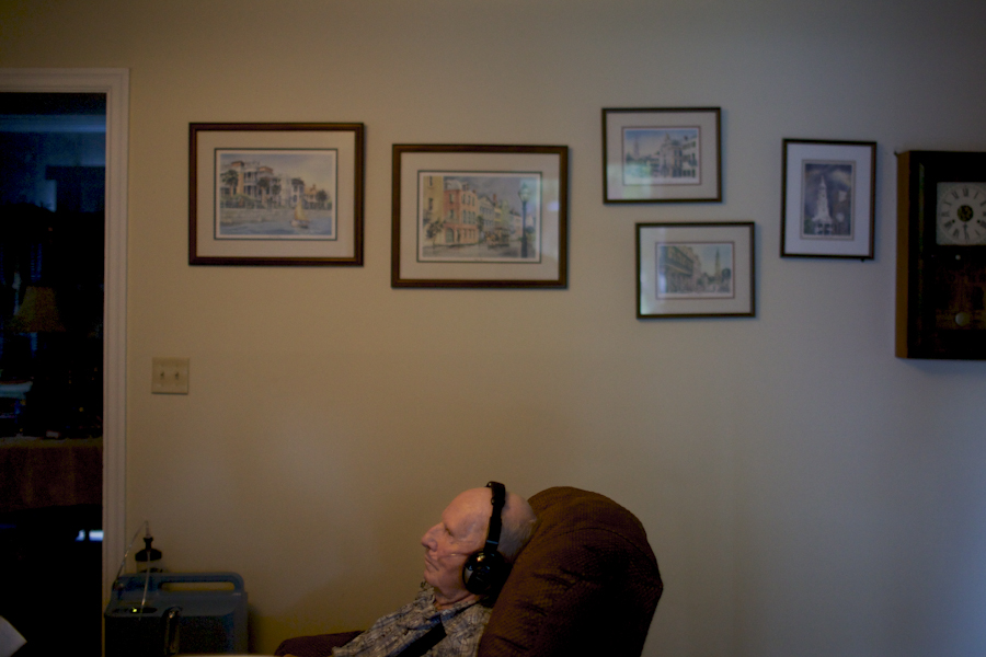 Mr. Frampton rest on his recliner chair watching television in the living room of his home in Cayce, SC. Oct. 2014