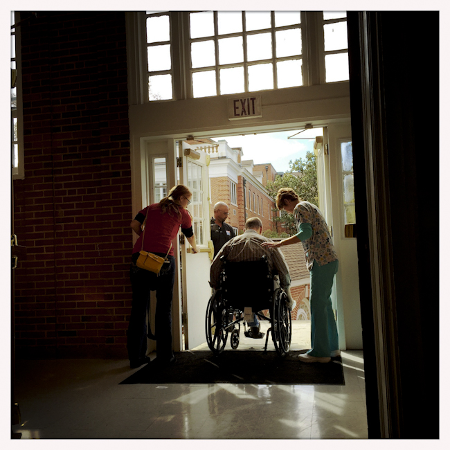 A Veteran departs the medical center at the VA medical center in Columbia, South Carolina. Nov. 2014