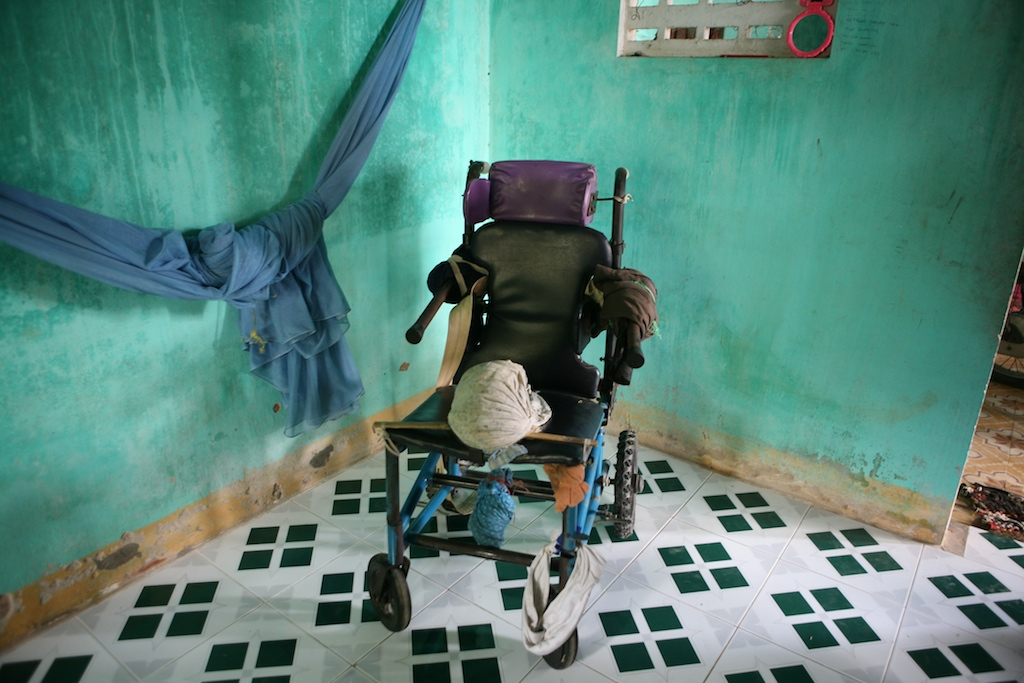 A makeshift wheel chair built by the father of Nguyen Pham, 11, who has been bed ridden for a great portion of his life.  Chi Linh, Vietnam, Vietnam.