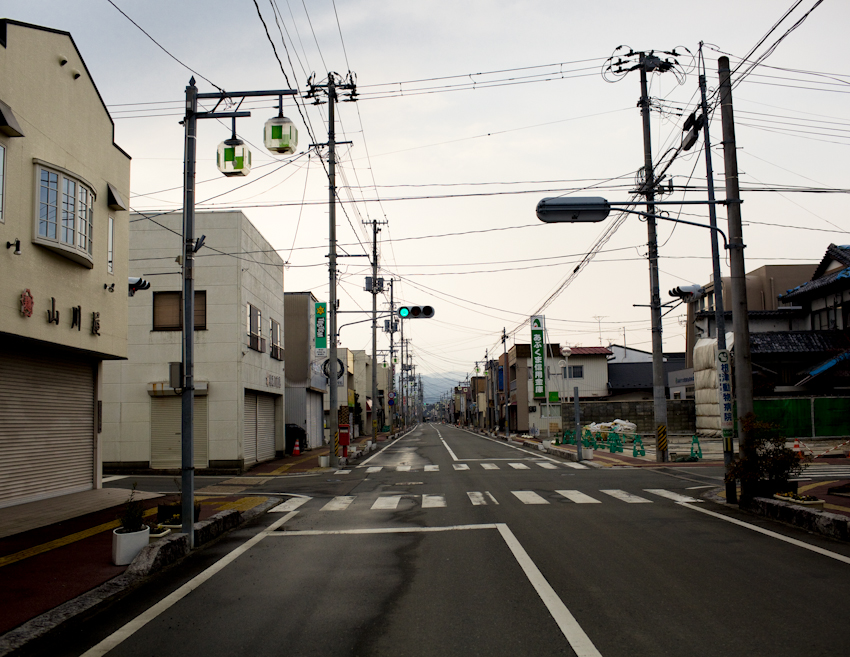 Town of Odaka, Fukushima, about 6 miles from the Daichi nuclear power plant. The city remains lifeless except for the sounds of crows in the nearby distance. Residents may return for the day to survey the damage to their homes, but are not allowed to live in the city. Mar. 2014