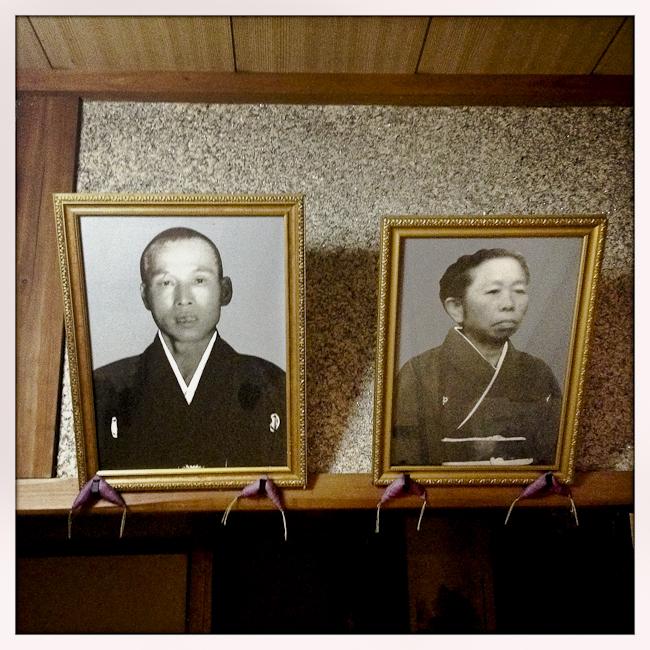 Old photos reamain in an empty house. Oda, Japan. 2012