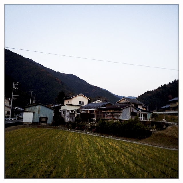 Lumber garages and old houses sit near a rice field on the foothills of a mountain.