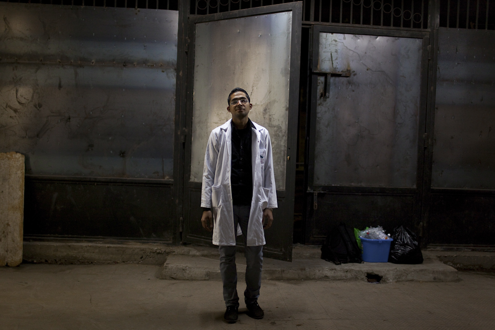 Dr. R, a lead doctor at makeshift hospitals during sudden uprisings. He was arrested by SCAF on Mohamed Mahmoud street early Dec. 2011, accused of interfering with government issues. He was blindfolded and taken to a military prison where he was detained for 26 days. Dr. R was stripped down, made to endure electric shocks and was badly beaten by the National Security. Cairo, Feb. 5, 2012.