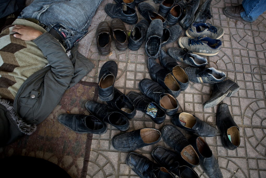 Shoes of Egyptian protesters who rest near makeshift tents at Tahrir Square on the 17th day of  demonstrations. Cairo, Egypt, Thursday, February 10, 2011.