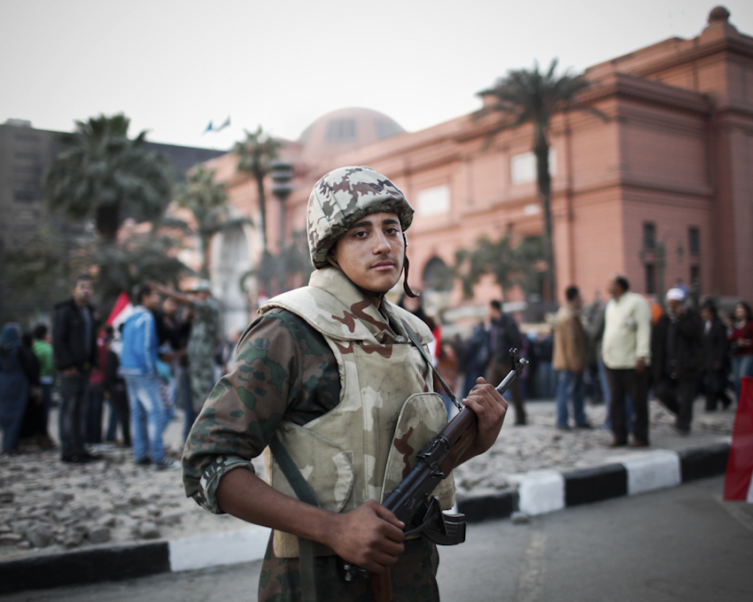 An Egyptian soldier holds his rifle at Tahrir Square. Cairo, Egypt. Feb. 13, 2011.