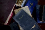 Old German bibles still remain at the Lutheran church in Syktyvkar, Russia.