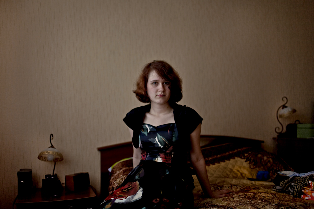Maria Yurkina, a fourth generation Russian German sits for a portrait at her home in Syktyvkar, Russia. Maria's grandmother feels Russian, but speaks the German language. Her family was exiled to the Komi Republic in 1945.