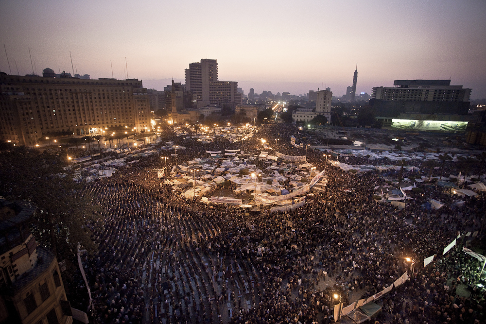 Thousands of anti-government protesters gather for Friday prayers at Tahrir Square, as news broke that Hosni Mubarak resigned. Cairo, Friday, February 11, 2011