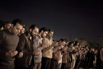 Egyptians take part in daily prayers at Tahrir Square on the 17th day of demonstrations. Cairo, Egypt. Feb. 10, 2011.
