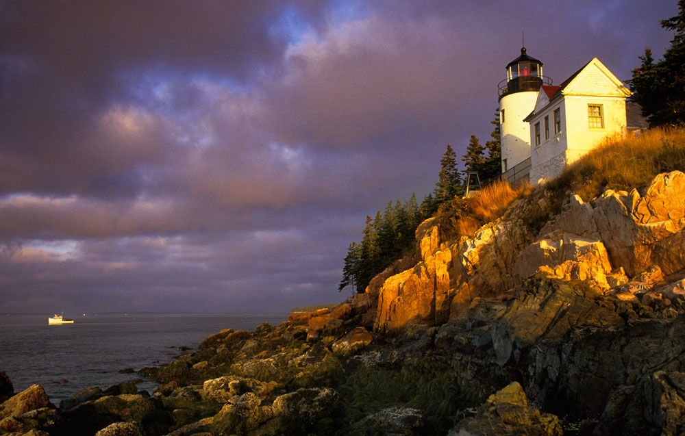 stock image, Acadia National Park, Bass Harbor, Lighthouse, Headlight, Hancock County, Maine,