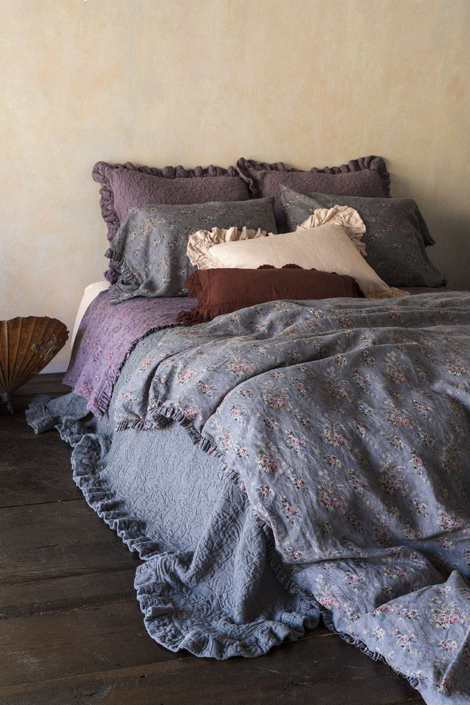 Amalie Euro Shams in Amethyst, Betty Standard Pillowcases in Grahite, Allysa Standard Sham in Perfect Peach, Linen with Crochet Lace Kidney Pillow in Bordeaux, Linen Fitted Sheet in Perfect Peach, Betty Flat Sheet in Amethyst, Amalie Coverlet in Graphite, Betty Duvet Cover in Graphite