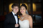 The bride and groom pose for a portrait at the Washington Athletic Club prior to their wedding at the Seattle Aquarium (Photography by Scott Eklund/Red Box Pictures)