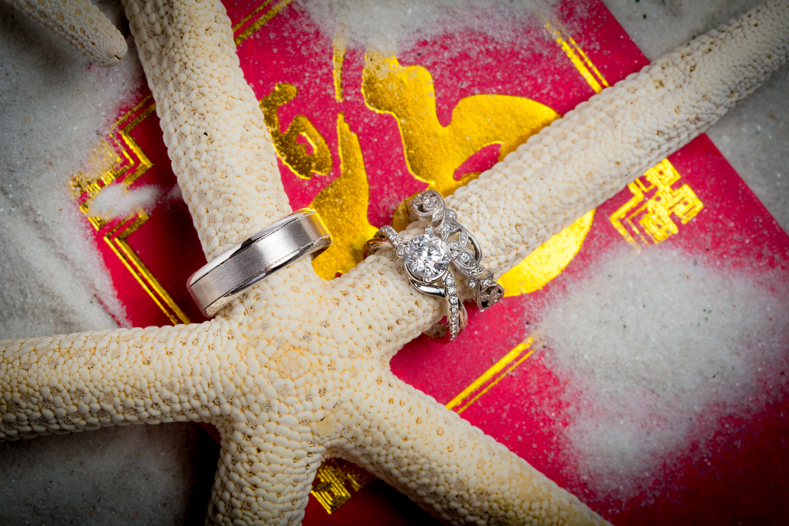 Alina & Patrick's wedding rings sit on a starfish during the reception at the Seattle Aquarium. (Wedding Photography by Scott Eklund - Red Box Pictures)
