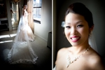 A portrait of the bride as she finishes getting ready at Washington Athletic Club (WAC) prior to the start of her wedding at the Seattle Aquarium. (Wedding Photography by Scott Eklund - Red Box Pictures)