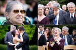 Family and friends react as the bride and groom kiss during their wedding ceremony at Cedarbrook Lodge in Seattle, Washington. (Wedding Photography by Scott Eklund - Red Box Pictures)
