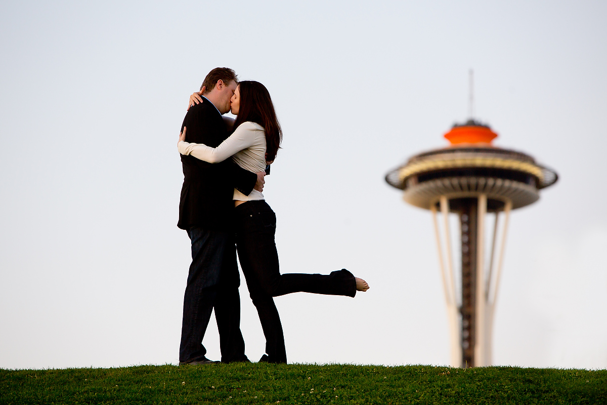 The Seattle engagement session at Pioneer Square, the Olympic Sculpture Park and Myrtle Edwards Park of Erika & Chris. (Engagement Photography Scott Eklund /Red Box Pictures)