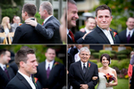 The groom becomes emotional as he sees the bride walk down the aisle with her father during their wedding ceremony at Cedarbrook Lodge in Seattle, Washington. (Wedding Photography by Scott Eklund - Red Box Pictures)