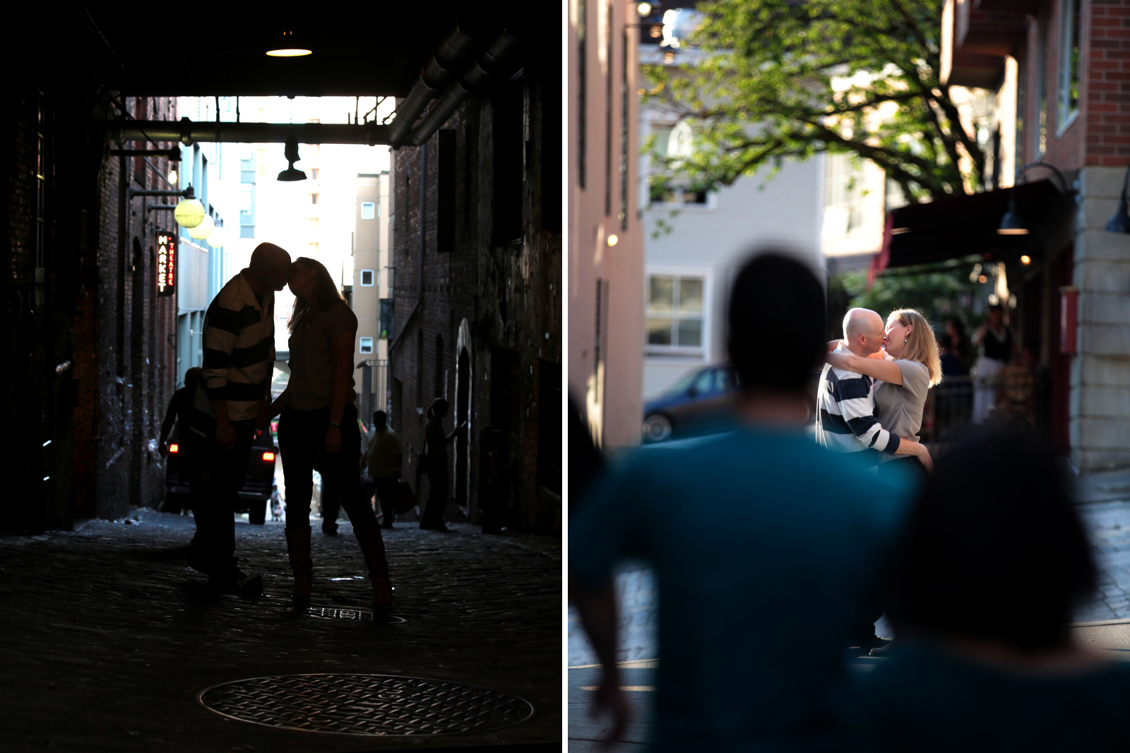 The Pike Place Market engagement photography session of Jennifer & Lincoln. (Photography by Scott Eklund /Red Box Pictures)