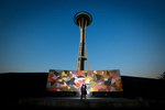 The Seattle Center engagement session of Jennifer & Lincoln. (Photography by Scott Eklund /Red Box Pictures)