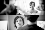 The bride puts on her makeup prior to her Cedarbrook Lodge wedding in Seattle, Washington. (Wedding Photography by Scott Eklund - Red Box Pictures)