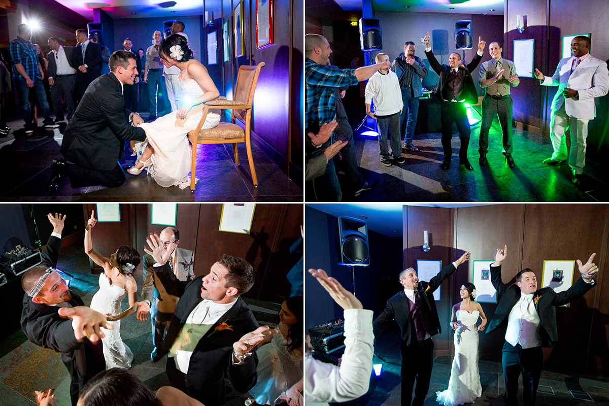 The groom takes the garter off the bride and then tosses the garter to the single men in the crowd. Also some scenes from the dance floor at the Cedarbrook Lodge wedding of Jordanna & Chad in Seattle, Washington. (Wedding Photography by Scott Eklund - Red Box Pictures)