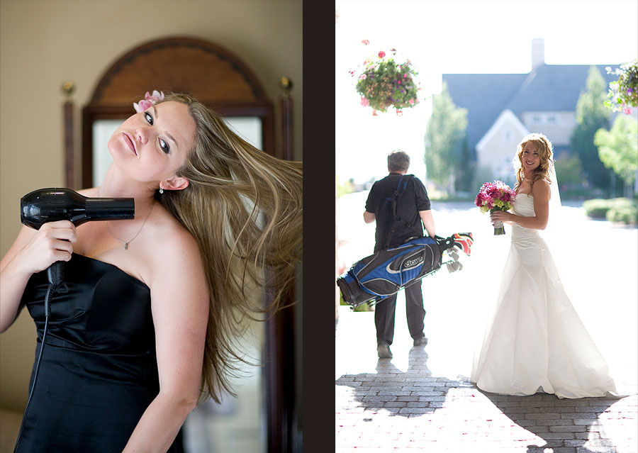 A bridesmaid blow dries her hair and Pauline gets ready to walk down the aisle as this golfer plays through before at the Golf Club at Newcastle near Seattle. (Photography by Scott Eklund/Red Box Pictures)