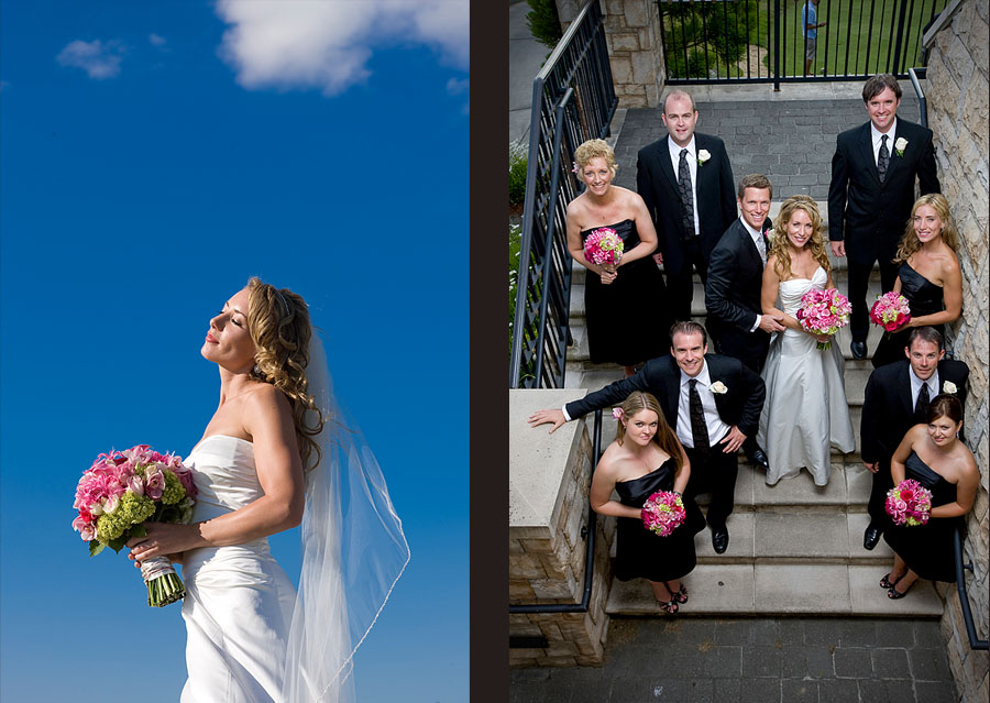 Pauline soaks up the sun at her wedding and a portrait on the stone stairs with her wedding party at the Golf Club at Newcastle near Seattle. (Wedding Photography by Scott Eklund/Red Box Pictures)