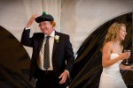 Pauline's dad puts on a show during his speech at the reception at the Golf Club at Newcastle near Seattle. (Wedding Photography by Scott Eklund/Red Box Pictures)