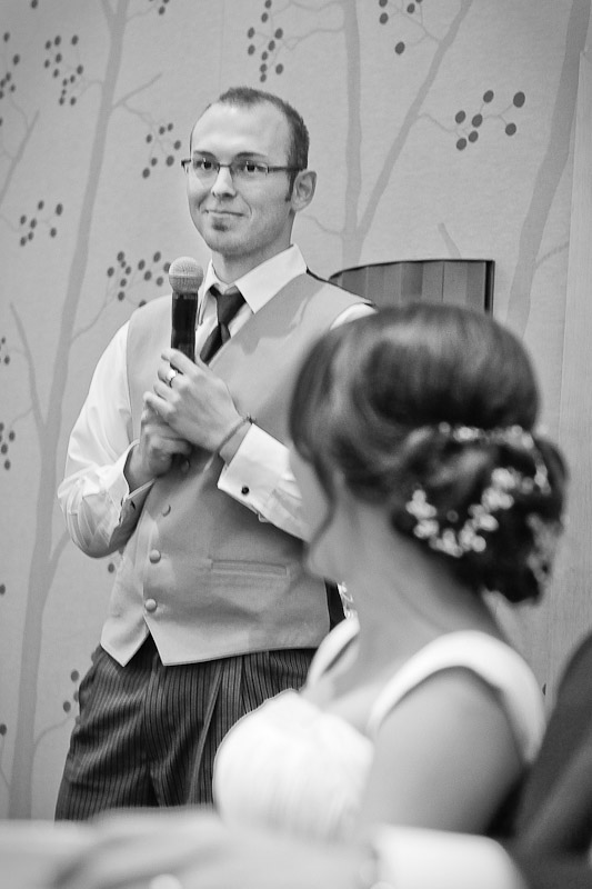 Silvia's brother gives a toast during the wedding reception at the Hyatt Regency in Bellevue, WA. (Photo by Andy Rogers/Red Box Pictures)
