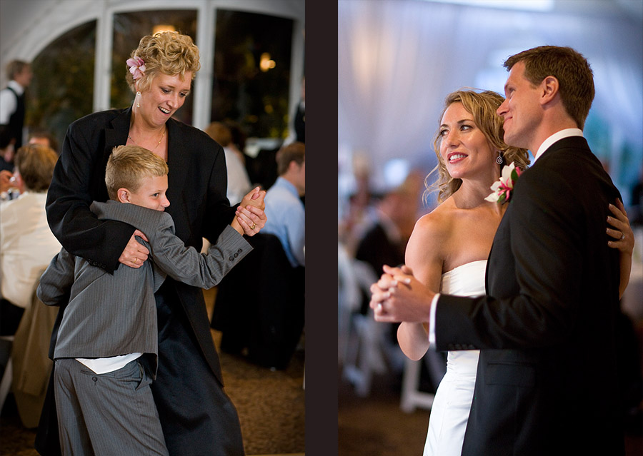 Pauline and Scott take their first dance  and their guests dance too at their reception at the Golf Club at Newcastle near Seattle. (Photography by Scott Eklund/Red Box Pictures)
