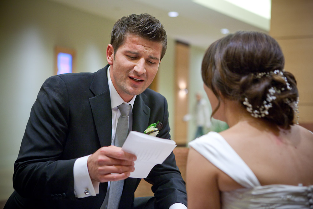 Adrian sings a song he composed on-the-spot in order to buy back his new bride following the wedding reception at the Hyatt Regency in Bellevue, WA. (Photo by Andy Rogers/Red Box Pictures)