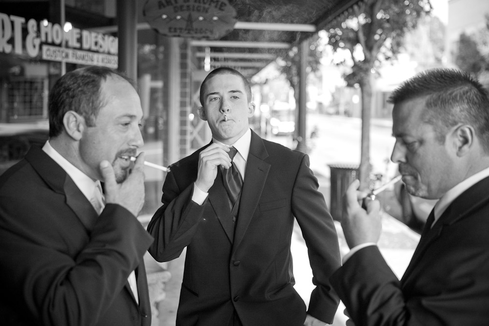 Matt and two of his groomsman take a smoke break  prior to his wedding at The Attic in Sumner, WA. (Photo by Scott Eklund/Red Box Pictures)