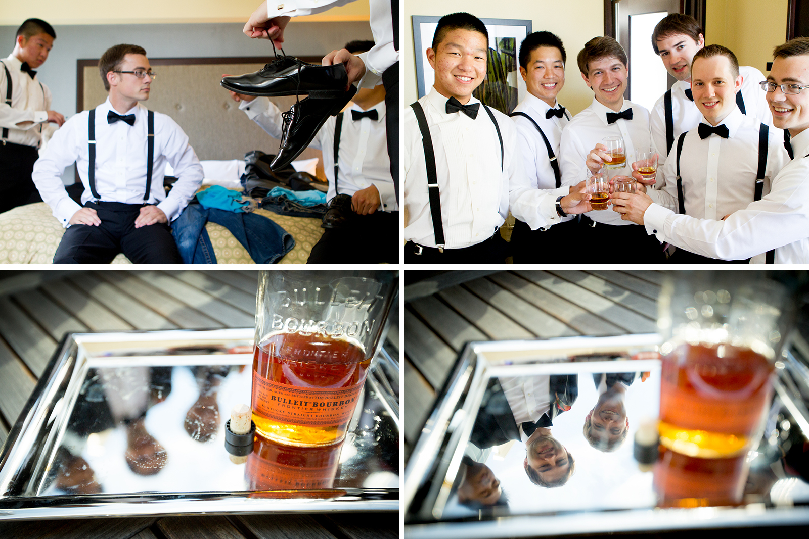 The groomsmen get ready and drink bourbon at the Washington Athletic Club (WAC) in Seattle prior to the start of the wedding at the Seattle Aquarium. (Wedding Photography by Scott Eklund - Red Box Pictures)