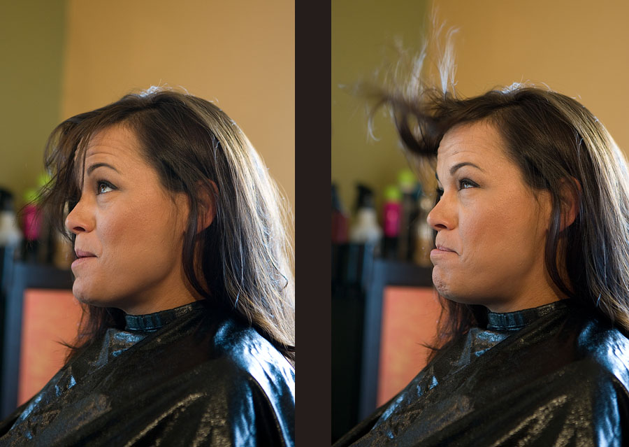 Michelle blows the hair out of her face as she waits to get her hair done before her wedding in Sumner, WA. (Photography by Scott Eklund/Red Box Pictures)