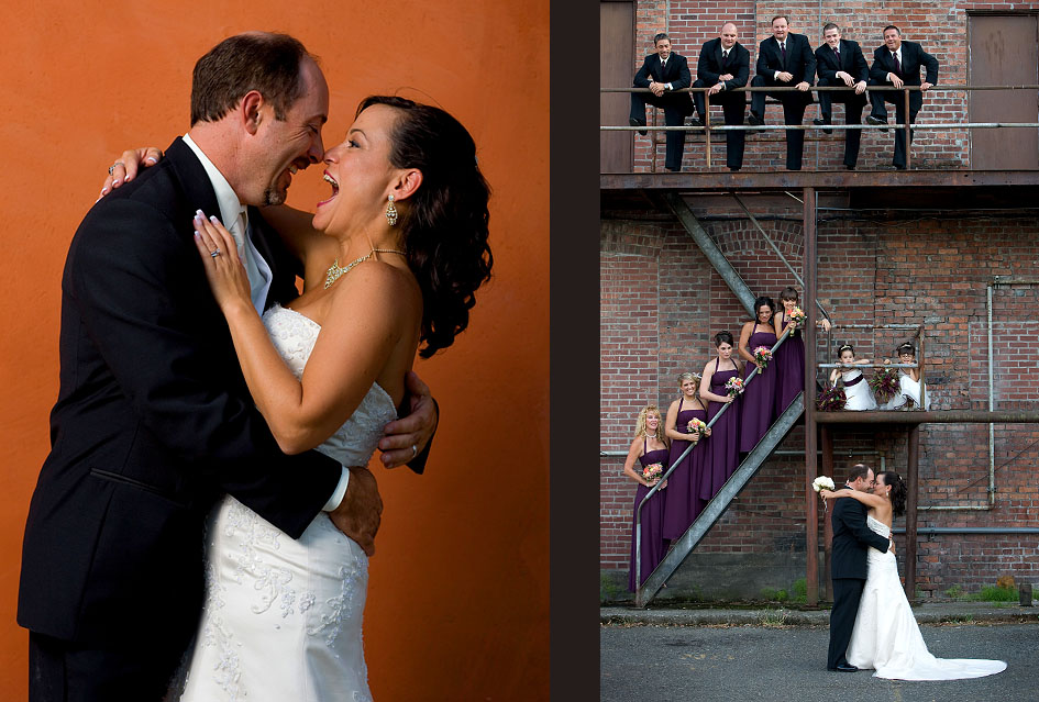 Michelle & Matt laugh as they have their portrait taken in front of an orange stucco wall near their wedding venue at The Attic in Sumner, WA. (Photography by Scott Eklund/Red Box Pictures)Michelle and Matt kiss as the bride and groom and the rest of the wedding party are photographed on a fire escape at The Attic in Sumner, WA.(Photography by Scott Eklund/Red Box Pictures)