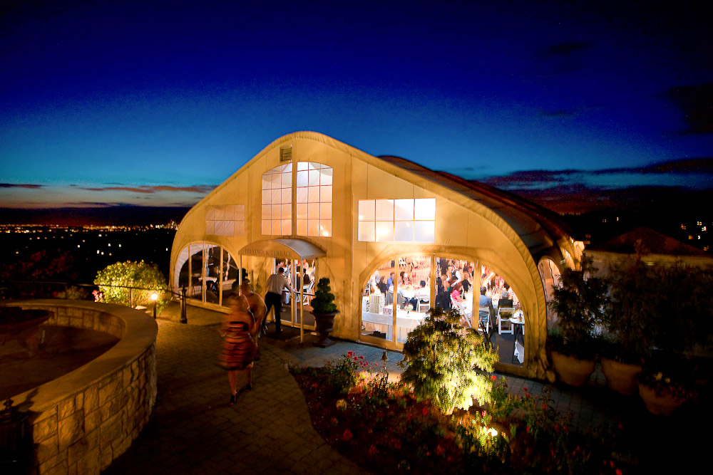 The tent used for the reception at the Golf Club at Newcastle. (Photography by Scott Eklund/Red Box Pictures)