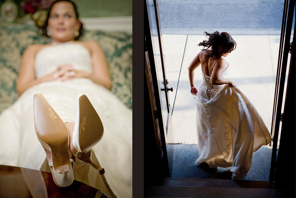 Michelle's puts her feet up and takes a break prior to her wedding at The Attic in Sumner, WA. (Photo by Scott Eklund/Red Box Pictures)Michelle gives her dress a tug as she walks down the stairway and out the door just before the start of her wedding at the The Attic in Sumner, WA. (Photography by Scott Eklund/Red Box Pictures)
